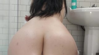 Half Korean twerks big oiled ass while riding dildo